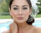 Bridal birdcage fascinator,Bridal headpiece, feathers rhinestone Russian veil, Bridal Hair pin,bridal hair accessory