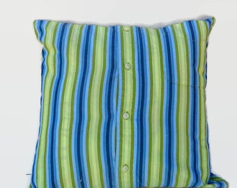 Blue and Green Striped Men's Shirt Eco Friendly  Pillow Cover 16 Inch Square Upcycled 16 X 16