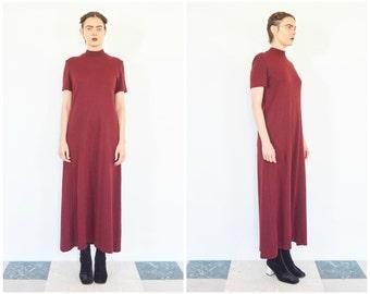 90s Oxblood Knit Turtleneck Sweater Dress
