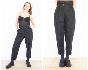 90s Pleated Black Linen Trousers / Size Small-Medium