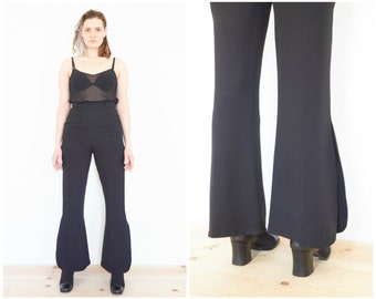 90s MOSCHINO Black High Waist Bell Bottom Pants / Flare Trousers / 28 Waist