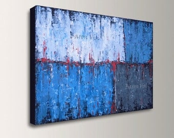 blue art painting Acrylic Painting Abstract art blue white grey large canvas wall home office interior decor modern palette knife Visi