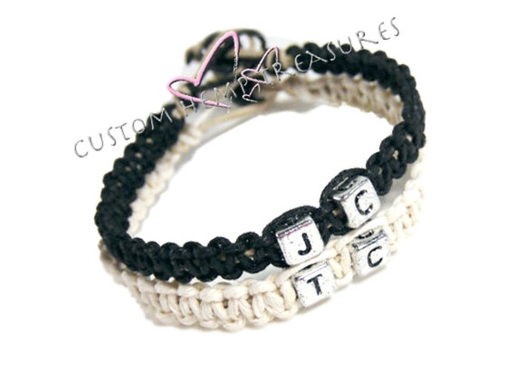 SALE Personalized Jewelry, Initial Bracelet, Couples Bracelets, Hemp Bracelets, Eco Friendly Jewelry, Custom Bracelet, Matching Bracelet