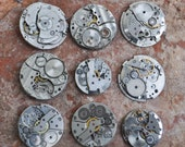 0.9 inch Set of 9 vintage watch movements.