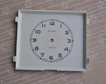 Vintage Soviet alarm clock Slava face,dial.