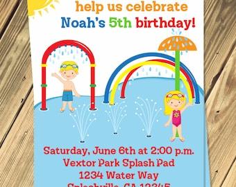 Splash Pad Birthday Party Invitation Print Your Own