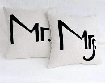 """Decorative Pillow Cases, Set of Two Off White fabric Throw pillow cases with Black """"Mrs"""" and """"Mr""""accent, 18""""x18"""",  Cushion case."""