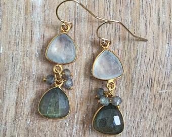 Labradorite & Rainbow Moonstone Earrings // Dangle, Gold Bezel Gemstone, Teardrop, White, Gray, Trillion Triangle, Fall Winter Style