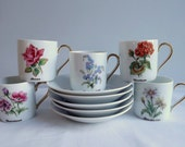 Five floral coffee cups and saucers, demitasses, fine porcelain, made by Sofafils