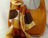 Vera Neumann long silk scarf gold geometric free shipping USA 70s golds brown