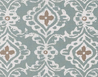 One 20 x 46 Custom Body Pillow Cover - Lacefield Cotton Ikat Damask - Seaglass Dusty Blue Green / Taupe