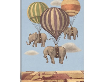 iCanvas Flight Of The Elephants Blue Gallery Wrapped Canvas Art Print by Terry Fan