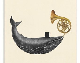 iCanvas Whale Song Square Gallery Wrapped Canvas Art Print by Terry Fan