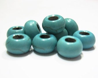 10 Turquoise, Howlite Stone, Euro Charm Beads for Bracelets & Necklaces, Coreless