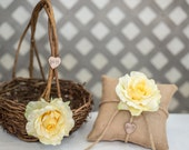 Yellow Rose Twig round personalized wedding large flower girl basket and ring bearer pillow. Customize with flower and initials