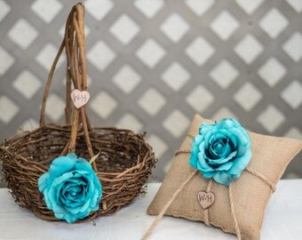 Turquoise Rose Twig round personalized wedding large flower girl basket and ring bearer pillow. Customize with flower and initials