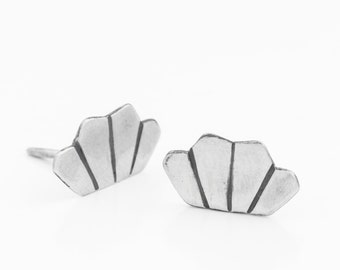 Sterling silver Stud Earrings - Everyday Silver Studs - 925 Silver Post Earrings - Geometric Crown silver Earrings - Princess Crown Studs