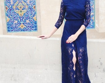 Maxi Navy Lace Dress with Slit
