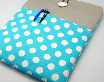 SALE - iPad Air case, iPad cover, iPad sleeve with 2 pockets, PADDED - White polka dots on light blue (37)