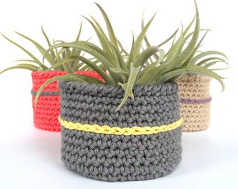 Hand Crafted Crocheted Cotton Bowl for Air Plants