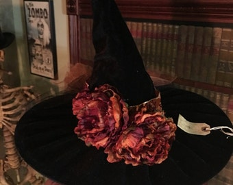 Witch Hat Black with Burnt Orange flowers, and orange tule
