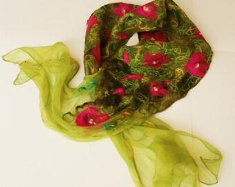 Nunofelted scarf, silk scarf, oleander, green, crimson, magenta, pink, wearable art, spring trends,  floral,unique, wedding fashion, for her