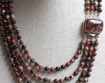 Poppy Jasper & Sterling Silver Box Clasp with 4 Strand Beaded Necklace - Statment Piece