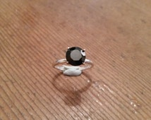 Black spinel 7mm sterling silver engagement dress ring