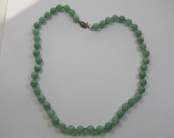Jade Necklace Celadon Green 8mm Beads 17.5 inches long 44grams