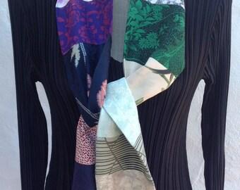 Long vintage kimono silk patchwork scarf FREE SHIPPING