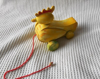 Wooden Pull Along Chicken Toy Bright Yellow Shabby Chic