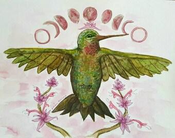 Hummingbird Lotus Moonphase Watercolor Art print by Rachael Rose Zoller from rosiluna