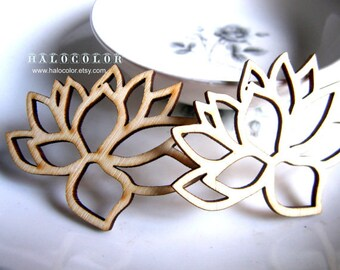 57x43mm Pretty Nature lotus flower Wooden Charm/Pendant MH177 11