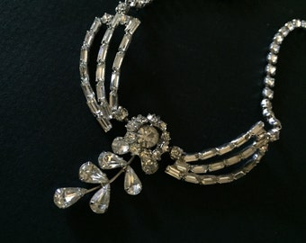 RINESTONE CHOKER - Vintage Wedding - CRYSTAL Necklace - Floral