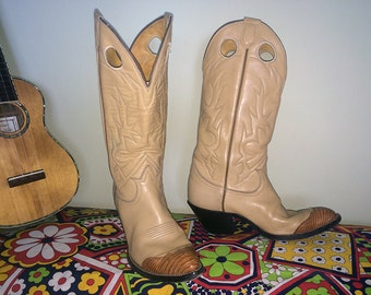 Vintage 70s Cowboy Boots Tony Lama 1970s - 1990s Two Tone Leather Western Fancy Snake Toe Leather Heel and Toe Women's Size 8 (Universal 7)