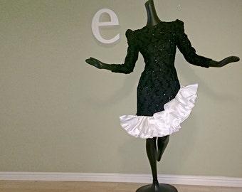 Vintage 80s Party Dress 1980s Dynasty Black Sequin Sequined HUGE White Ruffle Asymmetric Bodycon Body Con Padded Shoulders Size Small