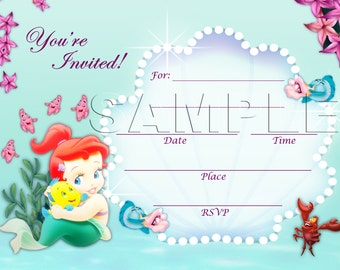 The Little Mermaid Invite - INSTANT DOWNLOAD - Disney Baby Princess Ariel - The Little Mermaid - Princess Ariel - Princess baby shower
