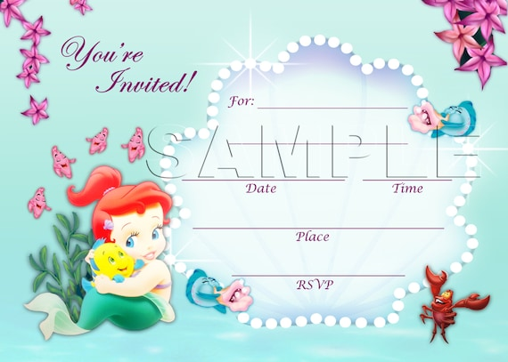 The Little Mermaid Invitation Instant Download Disney