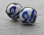 vintage delft cuff links, porcelain, signed, silver cuff links, mandolin player, blue cufflinks, gift for him, Fathers Day