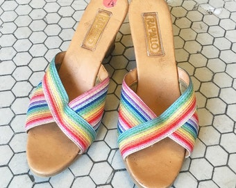 Vintage Rainbow Summer Wedges sz 7.5