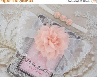 SALE 25% OFF - Peachy Pink and white glitter wings, purchase headband only, wings only or the set - for newborn photos, photo prop, newborn