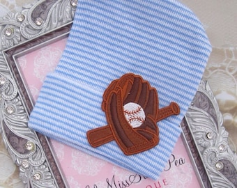 BOYS Newborn Hospital Hat with Baseball Bat and Glove Appliqué, infant beenie, baby boy hat, new baby beenie by Lil Miss Sweet Pea
