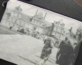 Cosmetic Bag with Vintage Photograph of the Palace at Fontainebleau, c. 1930