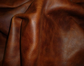 Leather 3 - 5 sq ft Aged BRANDY PULL UP Distressed Cowhide 3.5-4 oz /1.4-1.6 mm PeggySueAlso™