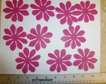 Leather Dahlia Vintage PINWHEEL Decorative appliques 10 each center cross cut out Hot Pink DIVINE  2-2.5 oz / 1-1.2 mm #R33 PeggySueAlso™