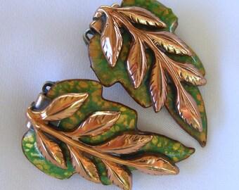 Vintage Renoir Matisse Earrings, 1950s Copper Enamel Clip Backs, Retro Green Leaf Jewelry