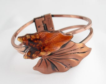 Vintage Renoir Bracelet / Copper Enamel Cuff / Matisse Leaf Clamper 1950s Estate Jewelry