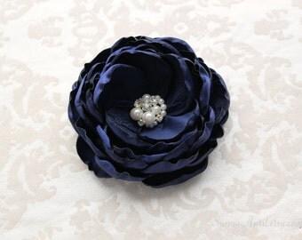 Navy Blue Hair Flower/ Brooch/ Handmade Wedding Accessory