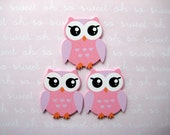 "Small Pink Owl Wooden Animal Ornaments for Baby Shower Party Favors, Craft, Zoo, Forest, Jungle, African Themes, 1 3/8 "" x 1 5/8"", 12 pcs"
