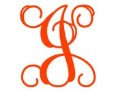 "3.5"" Vine Monogram Vinyl Decal Sticker - 1 Initial - 26 Colors to Choose From"